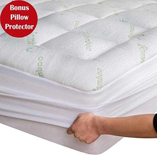 Bamboo Mattress Topper Cover Queen With Bamboo Pillow Protector Cooling Pillow Top Mattress Pad Breathable Extra Plush Thick Extra Deep Fitted 8-21Inches Rayon Cooling Fabric Ultra Soft