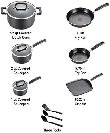 T-fal Signature Nonstick Dishwasher Safe Cookware Set, 12-Piece, Black
