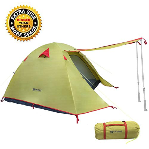 Weanas Professional Backpacking Tent 2 3 4 Person 3 Season Weatherproof Double Layer Large Space Aluminum Rod for Outdoor Family Camping Hunting Hiking Adventure Travel (Green, 2-3 Person)