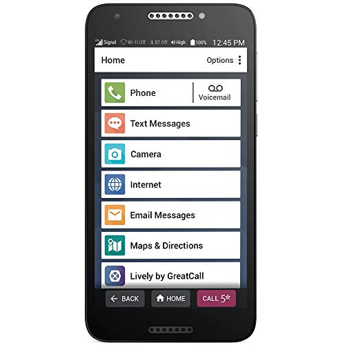 "Jitterbug Smart2 No-Contract Easy-to-Use 5.5"" Smartphone for Seniors by GreatCall, Black"