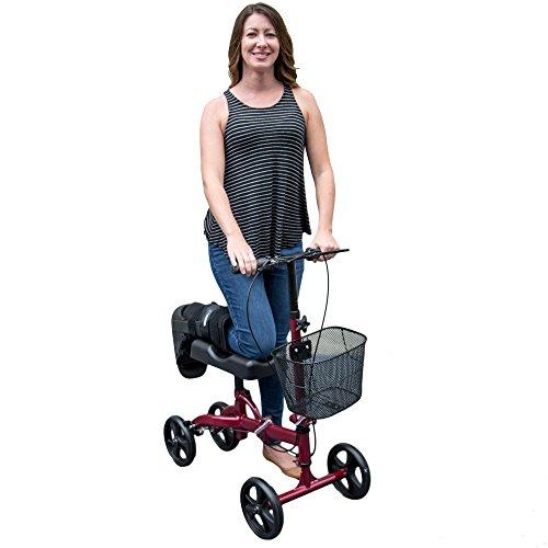 Healthport Knee Walker | Steerable Knees Scooter for Foot Injuries | Folding, Dual Breaks, Parking Mechanism | Increased Turning Radius for Indoor & Outdoor | (Glossy Red)