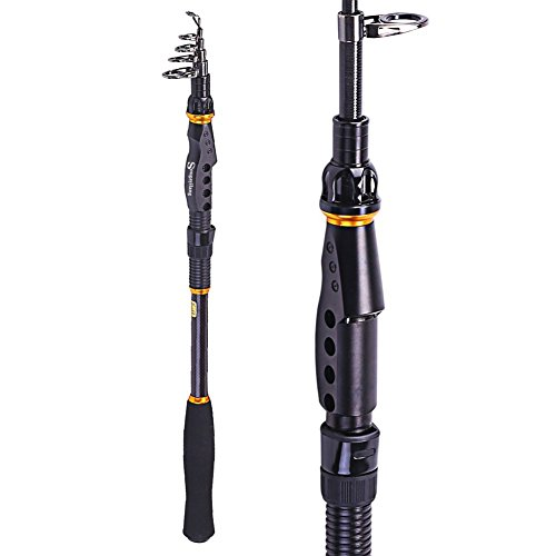 Sougayilang Graphite Carbon Fiber Portable Spinning Telescopic Fishing Rod for Boat Saltwater and Freshwater,1.8M/5.91Ft