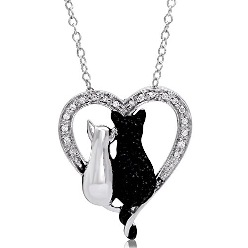 Tender voices 15cttw black and white diamond cat heart pendant in tender voices 15cttw black and white diamond cat heart pendant in sterling silver black diamonds jewelry aloadofball Image collections