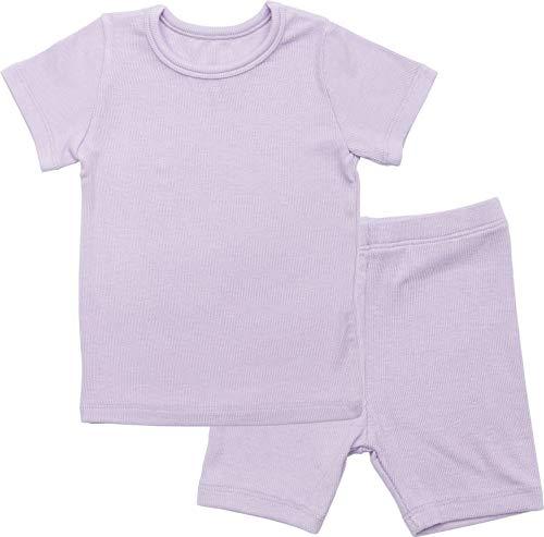 AVAUMA Newborn Baby Little Boys Snug-Fit Pajamas Summer Short Sets Pjs Kids Clothes (JS/Purple)