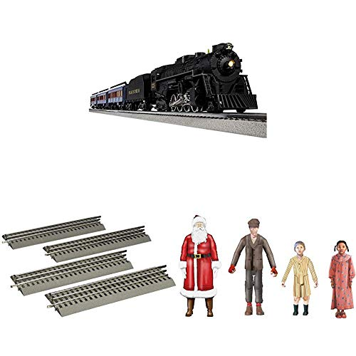 Lionel-The-Polar-Express-Electric-O-Gauge-Model-Train-Set-with-Remote-and-Bluetooth-4-Piece-Straight-Track-Expansion-People-Pack