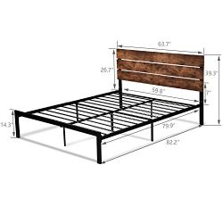 Amolife Queen Bed Frame with Headboard/Platform Metal Bed Frame with Footboard/Mattress Foundation/Strong Slat Support/No Box Spring Needed