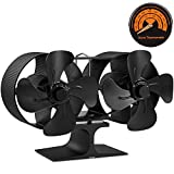 PYBBO Wood Stove Double Motors Fan, 8 Blades Fireplace Silent Heat Powered Eco Stove Fan for Gas/Pellet/Wood/Log Burning Stoves with Thermometer