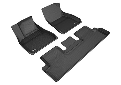 3D MAXpider KAGU Black All-Weather Floor Liners for Tesla Model 3: RWD, Dual Motor & Performance, 2 Front Seats, 1 Rear Seat Floor Liners