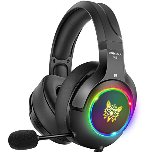 DIZA100 Stereo Gaming Headset PS4 Headset with 7 Colors Breathing LED Light, Xbox One Headset with 7.1 Surround Sound, Noise Cancelling Mic for PS4, Xbox One, PC Games