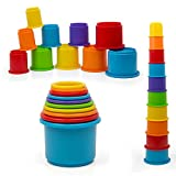 Kidsthrill Rainbow Stacking & Nesting Cups Baby Building Set |10 Pieces | Embossed Animal Characters |Indoor, Outdoor, Bathtub, and Beach Fun Toy Multi Colored