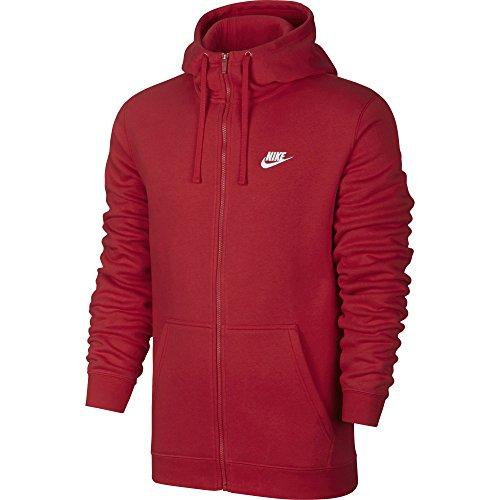 Nike Mens Sportswear Full Zip Club Hooded Sweatshirt University Red/White 804389-657 Size 2X-Large