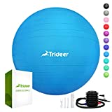 Trideer Exercise Ball (45-85cm) Extra Thick Yoga Ball Chair, Anti-Burst Heavy Duty Stability Ball Supports 2200lbs, Birthing Ball with Quick Pump (Office & Home & Gym) (Dark Blue, L (58-65cm))
