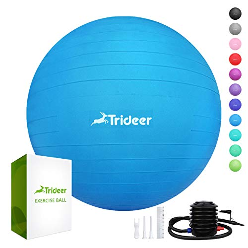 Trideer Exercise Ball (45-85cm) Extra Thick Yoga Ball Chair, Anti-Burst Heavy Duty Stability Ball Supports 2200lbs, Birthing Ball with Quick Pump (Office & Home & Gym) (Dark Blue, 55cm)