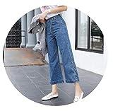 Lace Up Women Wide Leg Denim Blue Black Jeans Pants High Waist Loose Trousers,deep Blue,M