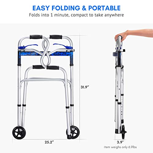 Health Line 3 in 1 Stand-Assist Folding Walker with Trigger Release and 5″ Wheels Supports up to 350 lbs, Compact Lightweight & Portable – w/Bonus Glides, Silver deal 50% off 41iQBZ2Zf8L