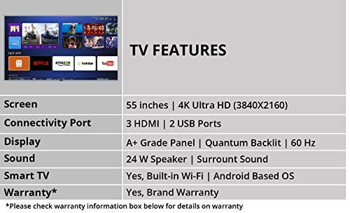 RCA 140 cm (55 inch) 4K Ultra HD Smart LED TV 55WR1904U (Silver) (2019 Model) | with Quantum Backlit Technology 5