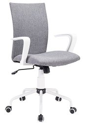 Grey Modern Office Chair Computer Desk Chair Comfort White Swivel Fabric Home Office Task Chair with Arms and Adjustable Height, Suitable for Computer Working and Meeting and Reception Place