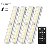 4 Pack Under Cabinet Lighting Anbock LED Closet Light Remote Control  Under Counter Lighting Battery Powered Step Lights Kitchen Light Closet Light Timer Dimmable 3000K