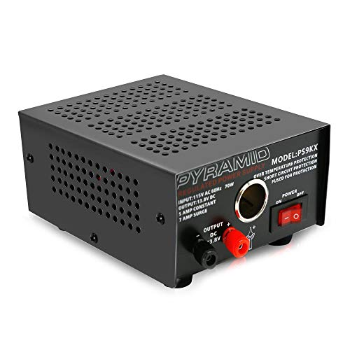 Sound Around Pyramid Bench Power Supply | AC-to-DC Power Converter | 5.0 Amp Power Supply with Car/Vehicle Power Outlet (PS9KX)