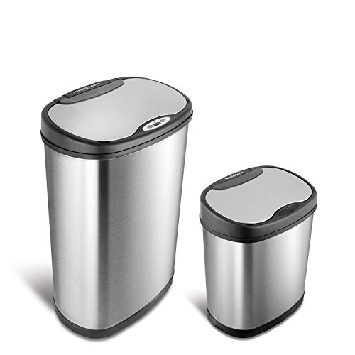 NINESTARS CB-DZT-50-13/12-13 Automatic Touchless Infrared Motion Sensor Trash Can Combo Set, 13 Gal 50L & 3 Gal 12L, Stainless Steel Base (Oval, Silver/Black Lid)