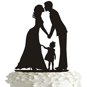 Topper per torta nuziale Rosenice Kiss Bride and Groom Hand in Hand with a Girl Acrylic cake topper in nero