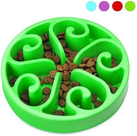 Comedero Lento para Perros para Mascotas, Platos para Perros y Gatos, Interactivo Mascota Cuenco(Verde)