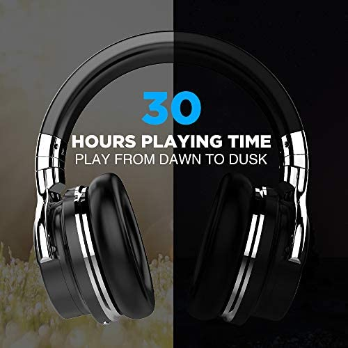 COWIN E7 Active Noise Cancelling Headphones Bluetooth Headphones with Microphone Deep Bass Wireless Headphones Over Ear, Comfortable Protein Earpads, 30 Hours Playtime for Travel/Work, Black 19