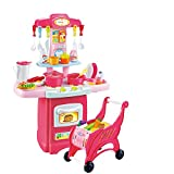 Children's Toys Electronic Kitchen Set, Kids Kitchen Playset and Shopping Cart Chess Set Kitchen Cooking Set Toddler Gift Toy/Lights Sound (Multicolor, 55x13x39cm / 21.65x5.11x15.35in)