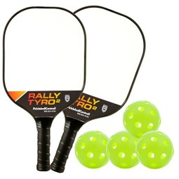 PickleballCentral Rally Tyro 2 Pickleball 2 Player Paddle and Ball Set by Includes Two (2) Rackets and Four (4) Balls   Advanced Composite PolyPropylene Honeycomb Core and Fiberglass Face