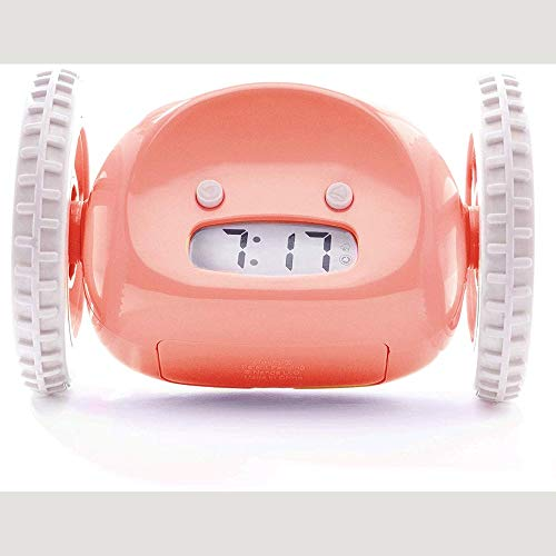 MMPY Mobile Alarm Clock Rolling Alarm Clock Lazy Snooze Moving Wheels Escape Mobile Creative Gift Clock (Color : Pink)