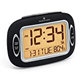 Marathon CL030051BK Atomic Alarm Clock with Auto-Night Light, Temperature & Date - Batteries Included with Easy Control Front Buttons.