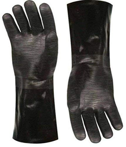 Best Insulated BBQ Pit Gloves * 14' Length for Outdoor Barbecue, Cooking and Frying! * Designed For the Pit Master To Use With Your Turkey Fryer, BBQ, Smoker & For All Your Cooking and Food Handling. Heavy Duty Heat Resistant TEXTURED Neoprene.