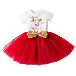 Newborn Baby Infant Toddler Girls It's My 1st/2nd Birthday Cake Smash Shiny Printed Sequin Bow Tutu Princess Bowknot Dress Outfit 1st Christmas Outfit Dress 41ilQI90RJL