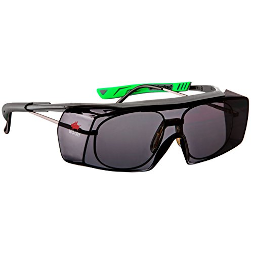NoCry Tinted Over-Spec Safety Glasses - with Anti-Scratch Wraparound Lenses, Adjustable Arms, and UV400 Protection, Grey & Green Frames. ANSI Z87.1 & OSHA Certified