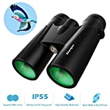 12x42 Roof Prism Binoculars for Adults - Professional HD Binoculars for Birds Watching Hunting Concerts with Clear Weak Light Vision - BAK4 Prism FMC Lens with Strap Carrying Bag