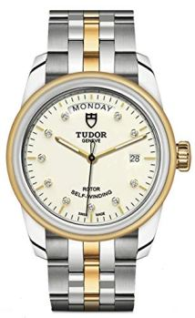 Mens Tudor Glamour Date and Day Diamond Dial, Steel and Gold