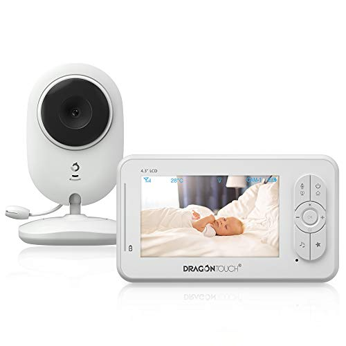 """Video Baby Monitor with Camera and Audio, Dragon Touch 4.3"""" Baby Camera with Night Vision, Support Multi Cameras, Two-Way Audio, Auto VOX, Lullaby, Feed Alarm, Night Light for Baby, Pet, Elder"""