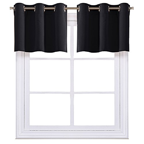 NICETOWN Black Small Window Valances Curtains - Thermal Insulated Home Decor Blackout Grommet Tier Curtains Drapes for Basement Windows (42' W by 18' L + 1.2' Header,2 Pieces)