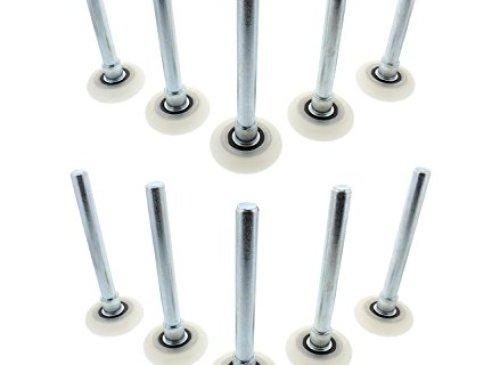 ABN Quiet Garage Door Rollers Nylon Door Wheels Replacement Garage Roller, White 2in 13 Ball Bearing 4in Stem 10pk