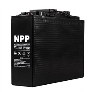 NPP 12V 100 Amp FT12 100Ah Front Access Telecom Deep Cycle AGM Battery With Button Style Terminals