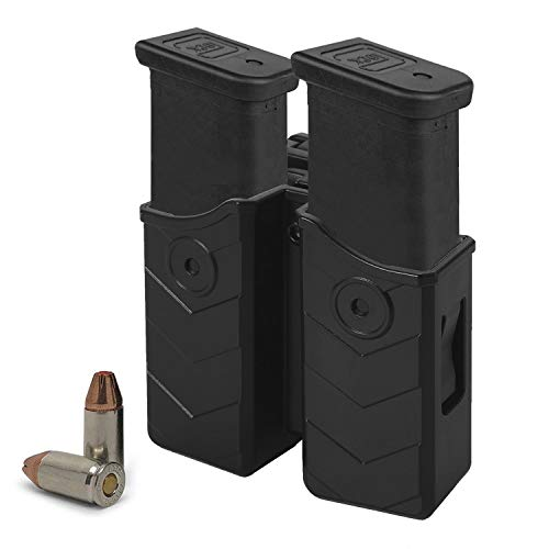 HQDA Universal Double Magazine Holster, Mags Pouch, Fits Glock 17 19 22, 9MM/.40 Cal Dual Stack Mag Holder, Duty Belt OWB Handgun Case for Taurus CZ S&W Sig Sauer Beretta H&K Colt Browning Ruger CANIK