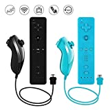 Lactivx 2 Packs Nunchuck and Wii Remote Controller Compatible with Nintendo Wii Wii U Console - with Silicone Case and Strap (Black and Blue)