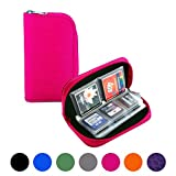 Memory Card Carrying Case - Suitable for SDHC and SD Cards, Mixtecc 8 Pages and 22 Slots Memory Card Holder Bag Wallet Bag for Media Storage Organization (Pink)