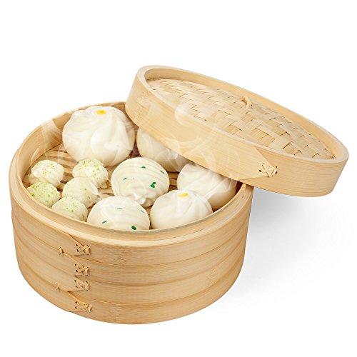 Flexzion Bamboo Steamer Basket