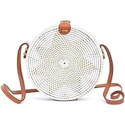 Rattan Bags for Women - Handmade Wicker Woven Purse Handbag Circle Boho Bag Bali