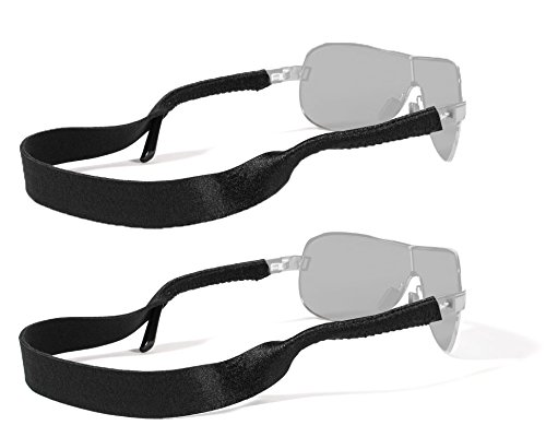 Croakies Original Standard Fit Neoprene Elastic Eyeglass and Sunglass Retainer / Strap, Black (2 Pack)