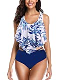 Switmsuit for Women Two Pieces Bathing Suits Top Ruffled Racerback with High Waisted Bottom Tankini Set