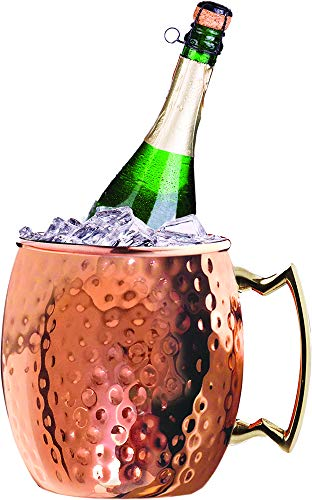 Silver One Stainless Steel Moscow Mule Hammered Wine Cooler/Chiller, Champagne & Whiskey Ice Bucket - 3 Quarts