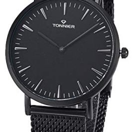 Tonnier W8479G Silver Stainless Steel Slim Men Watch Quartz Watch