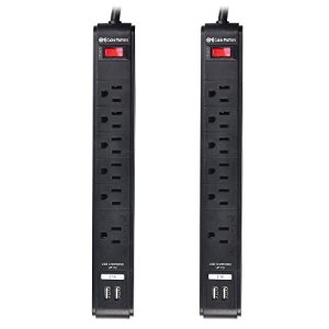 Cable Matters 2 Pack, 6-Outlet Surge Protector Power Strip with 8-Foot Cord and Dual USB Charging Ports